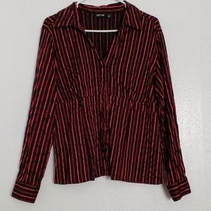 Apt. 9 black red striped button down silky blouse